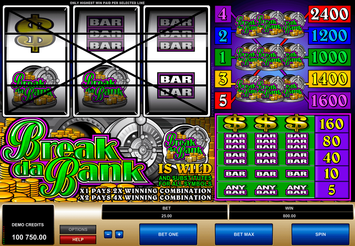 break da bank microgaming slot machine