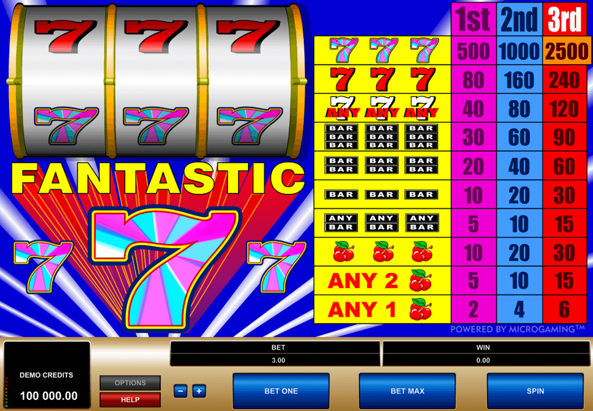 fantastic 7s microgaming slot machine