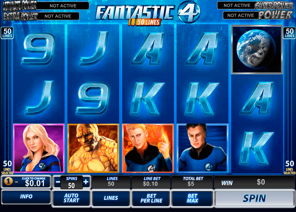 fantastic four 50 lines playtech slot machine