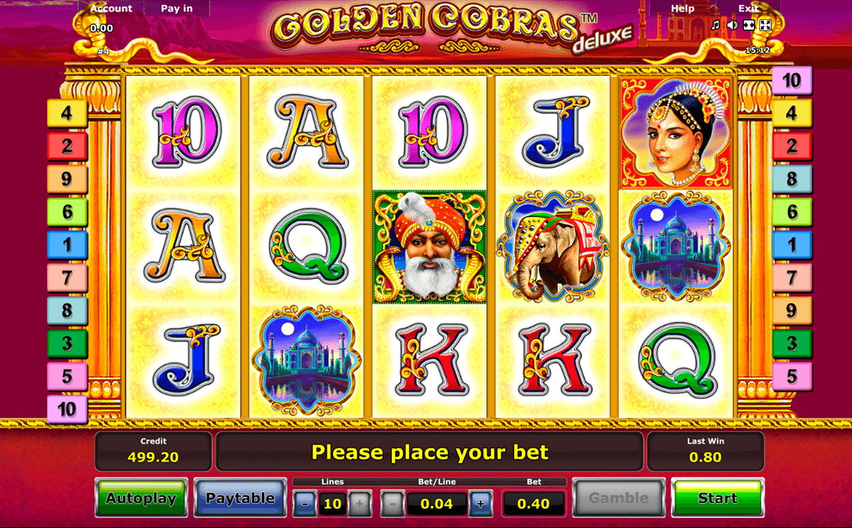 golden cobras deluxe novomatic slot machine