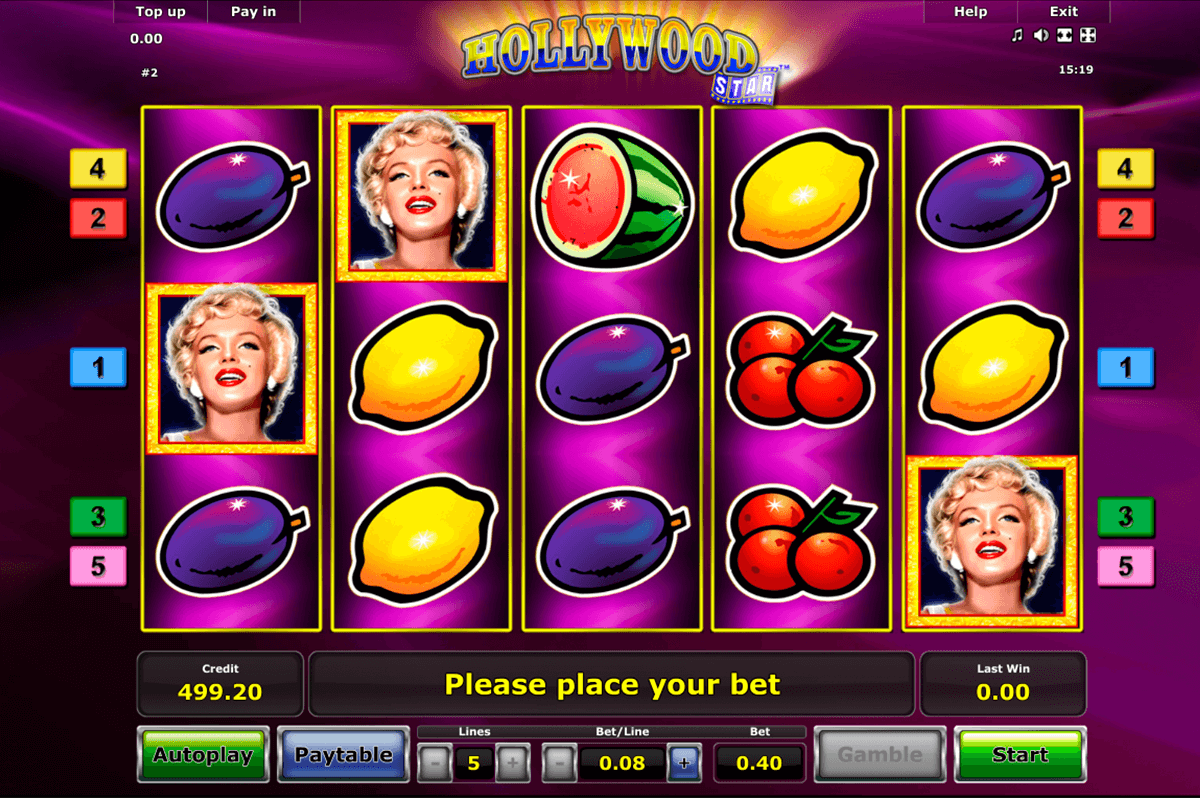 hollywood star novomatic slot machine