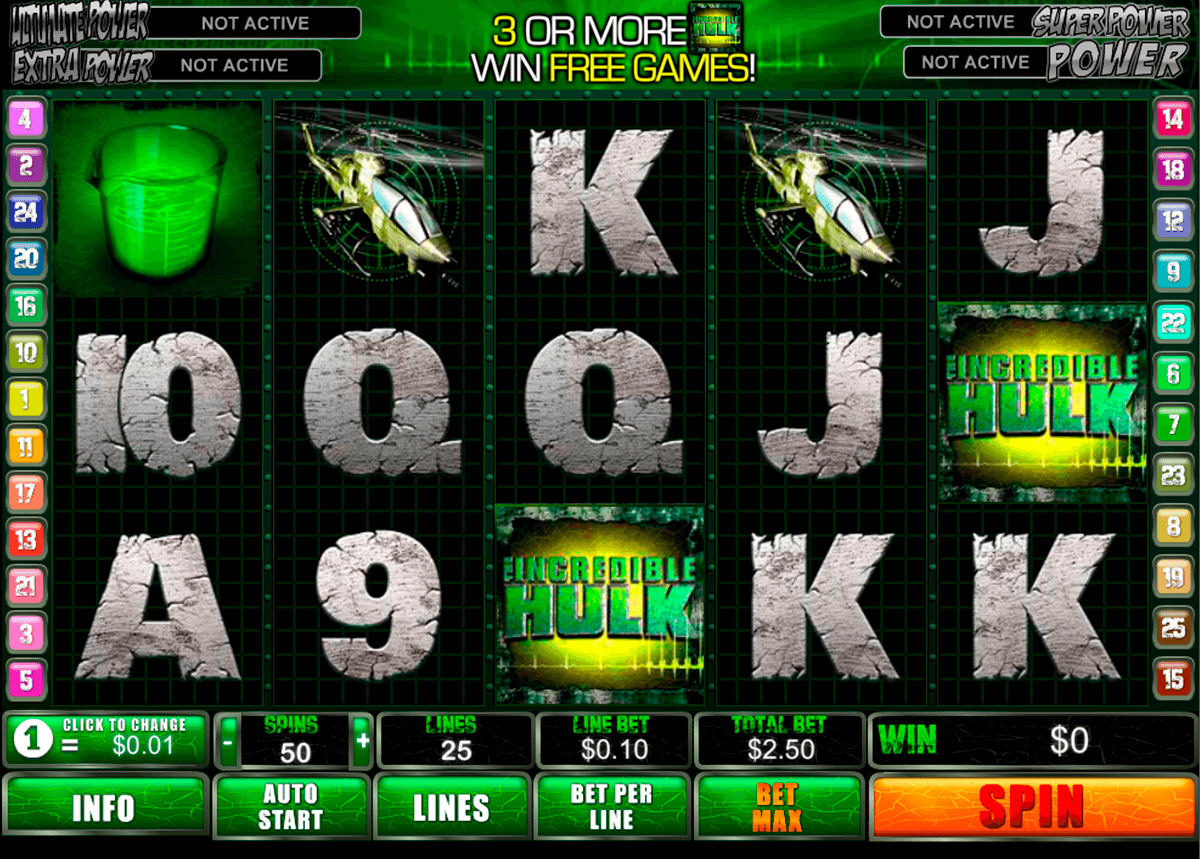 incredible hulk playtech slot machine