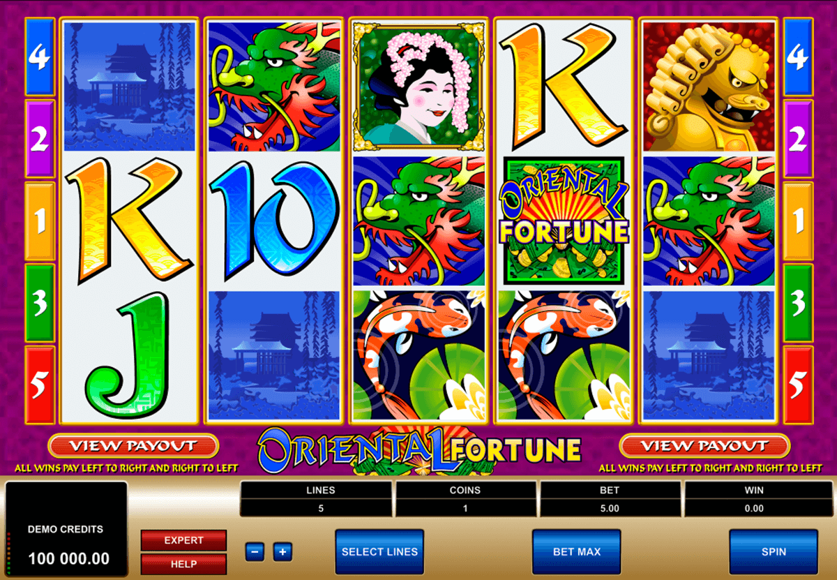 oriental fortune microgaming slot machine