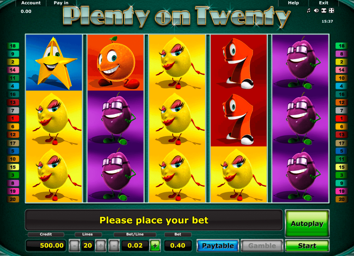 plenty on twenty novomatic slot machine