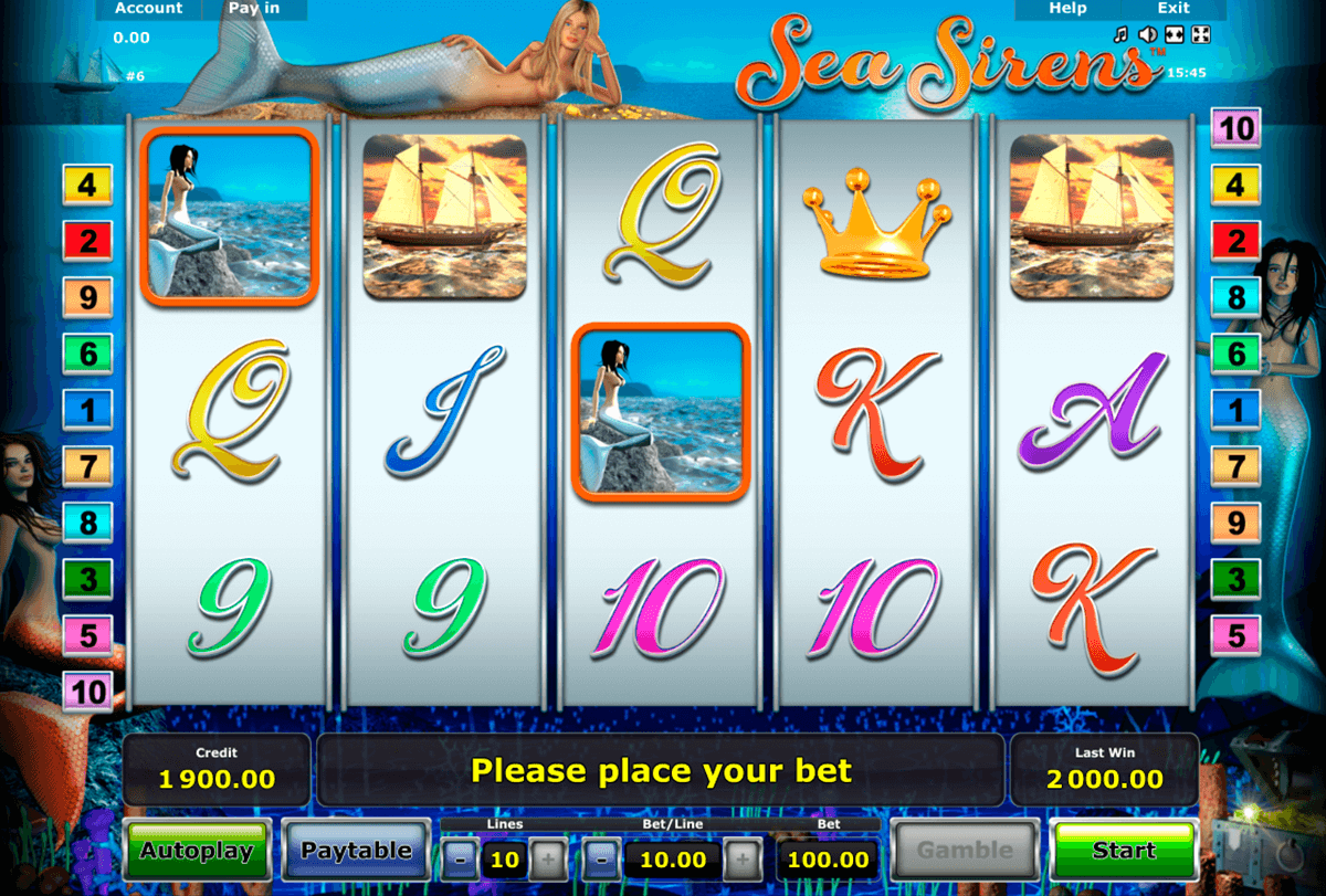sea sirens novomatic slot machine