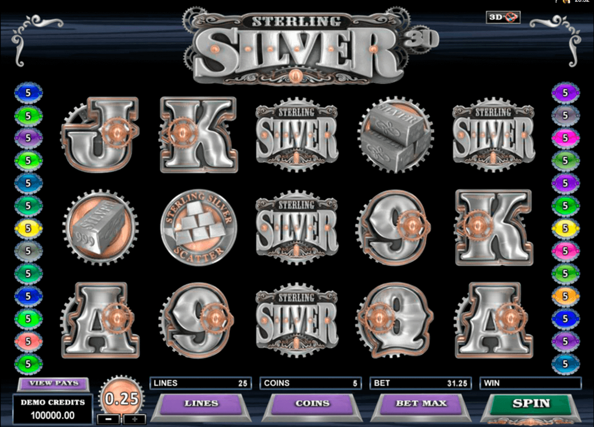 sterling silver 3d microgaming slot machine
