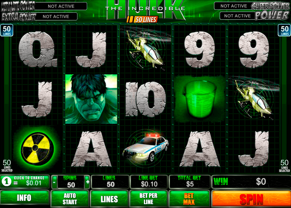 the incredible hulk 50 lines playtech slot machine