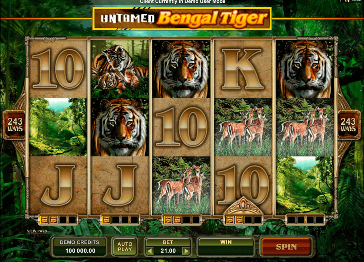 untamed bengal tiger microgaming slot machine