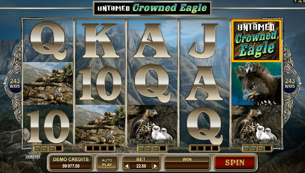 untamed crowned eagle microgaming slot machine